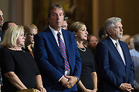 Family members of Paul Gerin-Lajoie attend his funeral in Montreal, Thursday, August 9, 2018. THE CANADIAN PRESS/Graham Hughes