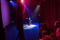 Deyna Viret, a student of the Cape Town College of Magic, performs a juggling routine during a show at the Artscape Theatre.