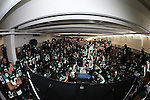 DENTON, TX  JANUARY 1: North Texas Mean Green team watch motivational    game day film before taking the field against the UNLV Rebels during the Heart of Dallas Bowl at Cotton Bowl Stadium in Dallas on January 1, 2014 in Dallas, TX.  Photo by Rick Yeatts North Texas won 36-14 over UNLV.