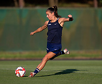 KASHIMA, JAPAN - AUGUST 1: Alex Morgan #13 of the USWNT strikes the ball during a training session at the practice field on August 1, 2021 in Kashima, Japan.