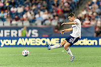 FOXBOROUGH, MA - AUGUST 18: Drew Skundrich #12 of D.C. United passes the ball during a game between D.C. United and New England Revolution at Gillette Stadium on August 18, 2021 in Foxborough, Massachusetts.