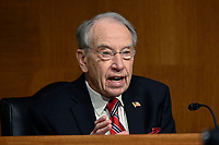 United States Senator Chuck Grassley (Republican of Iowa) speaks at a US Senate Judiciary Committee hearing examining issues facing prisons and jails during the coronavirus disease (COVID-19) pandemic on Capitol Hill in Washington, U.S., June 2, 2020.<br /> Credit: Erin Scott / Pool via CNP/AdMedia