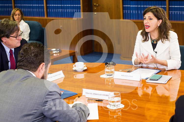 Miguel Angel Gutierrez of Ciudadanos, Yolanda Diaz of Unidos Podemos and Francisco Maruenda, director of La Razon during the debate on agreements with representatives of the four major political forces at the headquarters of the newspaper La Razon . 19,06,2016. (ALTERPHOTOS/Rodrigo Jimenez)