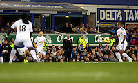 Liverpool, UK. Saturday 01 November 2014<br /> Pictured: Swansea manager Garry Monk (C)<br /> Re: Premier League Everton v Swansea City FC at Goodison Park, Liverpool, Merseyside, UK.