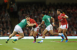 Wales Owen Lane is tackled by Ireland's Chris Farrell<br /> <br /> Photographer Ian Cook/CameraSport<br /> <br /> 2019 Under Armour Summer Series - Wales v Ireland - Saturday 31st August 2019 - Principality Stadium - Cardifff<br /> <br /> World Copyright © 2019 CameraSport. All rights reserved. 43 Linden Ave. Countesthorpe. Leicester. England. LE8 5PG - Tel: +44 (0) 116 277 4147 - admin@camerasport.com - www.camerasport.com