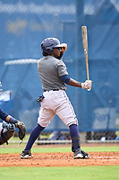 Tampa Bay Rays Alberto Figuereo bats during an Extended Spring Training intrasquad game on June 15, 2021 at Charlotte Sports Park in Port Charlotte, Florida.  (Mike Janes/Four Seam Images)