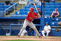 Palm Beach Cardinals outfielder Derek Gibson (39) at bat during the first game of a doubleheader against the Dunedin Blue Jays on August 2, 2015 at Florida Auto Exchange Stadium in Dunedin, Florida.  Palm Beach defeated Dunedin 4-1.  (Mike Janes/Four Seam Images)