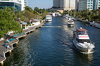 Ft. Lauderdale, Florida.  Pleasure Boats on New River in the Afternoon.