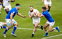 13th February 2021; Twickenham, London, England; International Rugby, Six Nations, England versus Italy; Luke Cowan-Dickie of England is tackled by Montanna Ioane of Italy