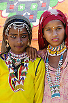 Portrait of two girls, Rajasthan, India