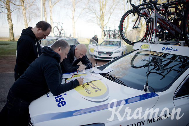 Race preparation is key for every squad out there, that effort is easily multiplied when it comes to Roubaix.<br /> Here Team Topsport Vlaanderen-Baloise checks the maps one more time the morning of the race.<br /> <br /> 114th Paris-Roubaix 2016