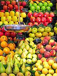 Fruit at produce stand at La Boqeria (public market) in Barcelona, Spain.