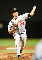 Mesa Solar Sox pitcher Mike Belfiore #57, of the Baltimore Orioles organization, during an Arizona Fall League game against the Salt River Rafters at Salt River Fields at Talking Stick on October 9, 2012 in Scottsdale, Arizona.  Salt River defeated Mesa 6-5.  (Mike Janes/Four Seam Images)