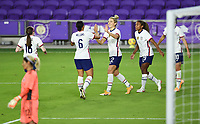 ORLANDO, FL - JANUARY 18: Lynn Williams #13 and Kristie Mewis #22 of the United States celebrate a Mewis goal during a game between Colombia and USWNT at Exploria Stadium on January 18, 2021 in Orlando, Florida.
