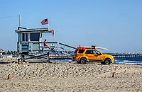 A lifeguard stand oby the beach on sunny day in Venice, California.