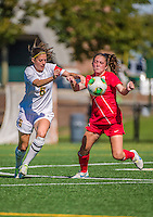 29 September 2013: University of Vermont Catamount Forward/Defender Haley Marks, a Senior from Penfield, NY, in action against the Stony Brook University Seawolves at Virtue Field in Burlington, Vermont. The Lady Cats fell to the visiting Seawolves 2-1 in America East play. Mandatory Credit: Ed Wolfstein Photo *** RAW (NEF) Image File Available ***