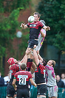 20120823 Copyright onEdition 2012©.Free for editorial use image, please credit: onEdition..Ernst Joubert of Saracens outjumps Quentin Aram of Stade Francais Paris to win the lineout at The Honourable Artillery Company, London in the pre-season friendly between Saracens and Stade Francais Paris...For press contacts contact: Sam Feasey at brandRapport on M: +44 (0)7717 757114 E: SFeasey@brand-rapport.com..If you require a higher resolution image or you have any other onEdition photographic enquiries, please contact onEdition on 0845 900 2 900 or email info@onEdition.com.This image is copyright the onEdition 2012©..This image has been supplied by onEdition and must be credited onEdition. The author is asserting his full Moral rights in relation to the publication of this image. Rights for onward transmission of any image or file is not granted or implied. Changing or deleting Copyright information is illegal as specified in the Copyright, Design and Patents Act 1988. If you are in any way unsure of your right to publish this image please contact onEdition on 0845 900 2 900 or email info@onEdition.com