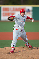Cornell Big Red starting pitcher Michael Byrne (28) in action against the Seton Hall Pirates at The Ripken Experience on February 27, 2015 in Myrtle Beach, South Carolina.  The Pirates defeated the Big Red 3-0.  (Brian Westerholt/Four Seam Images)