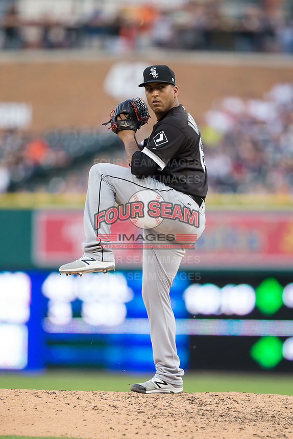 Chicago White Sox relief pitcher Gregory Infante (63) in action against the Detroit Tigers at Comerica Park on June 2, 2017 in Detroit, Michigan.  The Tigers defeated the White Sox 15-5.  (Brian Westerholt/Four Seam Images)