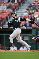 Syracuse Chiefs third baseman Brandon Laird (15) at bat during a game against the Buffalo Bisons on July 23, 2014 at Coca-Cola Field in Buffalo, New  York.  Syracuse defeated Buffalo 5-0.  (Mike Janes/Four Seam Images)
