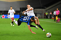 21st August 2020, Rheinenergiestadion, Cologne, Germany; Europa League Cup final Sevilla versus Inter Milan;  Lucas Ocampos of Sevilla  is challenged by Danilo D'Ambrosio of Inter Milan