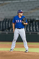 AZL Rangers relief pitcher Tyler Cohen (55) looks in for the sign during an Arizona League game against the AZL Giants Black at Scottsdale Stadium on August 4, 2018 in Scottsdale, Arizona. The AZL Giants Black defeated the AZL Rangers by a score of 6-3 in the second game of a doubleheader. (Zachary Lucy/Four Seam Images)