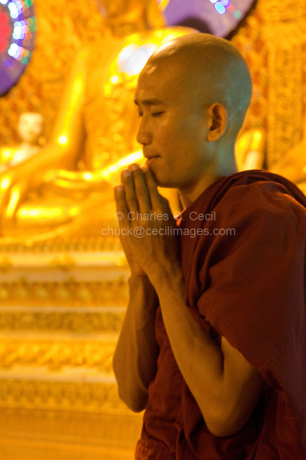 Myanmar, Burma.  Shwedagon Pagoda, Yangon, Rangoon.  Young Monk Praying at Buddhist Shrine.