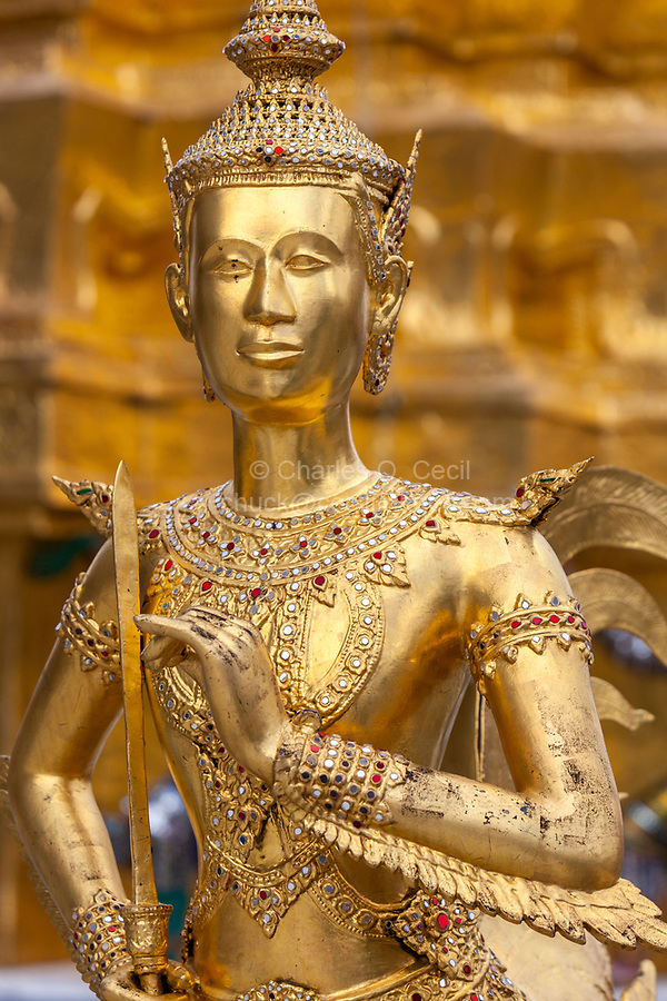 Bangkok, Thailand.  Kinnara, a Half-man, Half-bird Mythological Figure, Royal Grand Palace Compound.