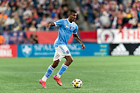 FOXBOROUGH, MA - SEPTEMBER 11: Thiago Andrade #8 of New York City FC brings the ball forward during a game between New York City FC and New England Revolution at Gillette Stadium on September 11, 2021 in Foxborough, Massachusetts.