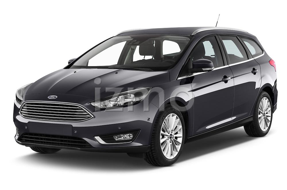 2015 Ford Focus Titanium 5 Door Wagon Angular Front stock photos of front three quarter view