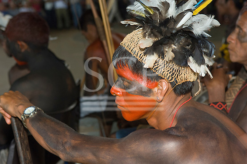 """Altamira, Brazil. """"Xingu Vivo Para Sempre"""" protest meeting about the proposed Belo Monte hydroeletric dam and other dams on the Xingu river and its tributaries. Kaiabi participant."""