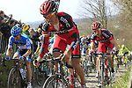 The peloton including Greg Van Avermaet (BEL) BMC Racing Team climbs Koppenberg during the 96th edition of The Tour of Flanders 2012, running 256.9km from Bruges to Oudenaarde, Belgium. 1st April 2012. <br /> (Photo by Eoin Clarke/NEWSFILE).
