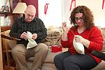 WATERBURY, CT-27 December 2013-122713LW02 - Greg Artman, left, and Julianne Artman sew pillows for cancer patients Dec. 27 in their Waterbury home.<br /> Laraine Weschler Republican-American