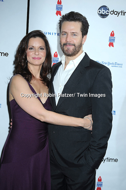 """Florencia Lozano and Ted King posing for photographers at The ABC Daytime Salutes Broadway Cares/ Equity Fights Aids """" An Evening of Musical Entertainment and Comedy""""  Benefit after party  on March 13, 2011 at the Marriott Marquis Hotel in New York City."""