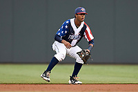 Second baseman Luis Carpio (18) of the Columbia Fireflies plays defense in a game against the Rome Braves on Monday, July 3, 2017, at Spirit Communications Park in Columbia, South Carolina. Columbia won, 3-2. (Tom Priddy/Four Seam Images)