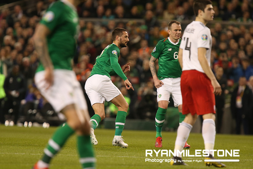 European Championship 2020<br /> Qualifying Round <br /> Rep of Ireland v Georgia<br /> Tuesday 26th March 2019,<br /> Aviva Stadium, Dublin.<br /> Conor Hourihane of Republic of Ireland turns away after scoring the first goal of the game.<br /> Mandatory Credit: Michael P Ryan
