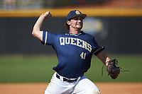 Queens Royals relief pitcher Chris Ragosta (41) in action during game two of a double-header against the Catawba Indians at Tuckaseegee Dream Fields on March 26, 2021 in Kannapolis, North Carolina. (Brian Westerholt/Four Seam Images)