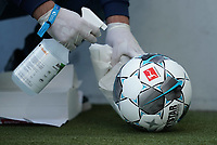 16th May 2020, Rhein-Neckar-Arena, Hoffenheim, Germany; Bundesliga football,1899 Hoffenheim versus Hertha Berlin;  Disinfecting the Derby star Ligaball during a break in the game