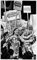 Frenzied fans demonstrating yesterday for former Justice minister E. Davie Fulton; during Conservative leadership nominations; were followed at scheduled intervals by other equally frenzied fans demonstrating for other candidates. Floor demonstrations were rigidly limited to 5 minutes by convention chairman.<br /> <br /> Photo : Boris Spremo - Toronto Star archives - AQP
