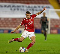21st November 2020, Oakwell Stadium, Barnsley, Yorkshire, England; English Football League Championship Football, Barnsley FC versus Nottingham Forest; Jordan Williams of Barnsley crosses the ball into the box