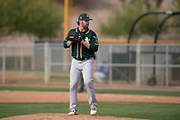 Oakland Athletics relief pitcher John Gorman (67) prepares to deliver a pitch during a Minor League Spring Training game against the Chicago Cubs at Sloan Park on March 13, 2018 in Mesa, Arizona. (Zachary Lucy/Four Seam Images)