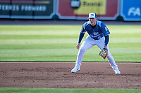 West Michigan Whitecaps third baseman Spencer Torkelson (8) on defense against the Great Lakes Loons at LMCU Ballpark on May 11, 2021 in Comstock Park, Michigan. The Loons defeated the Whitecaps in their home opener 9-1. (Andrew Woolley/Four Seam Images)