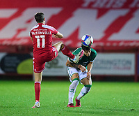 Lincoln City's Lewis Montsma is fouled by Accrington Stanley's Sean McConville<br /> <br /> Photographer Andrew Vaughan/CameraSport<br /> <br /> The EFL Sky Bet League One - Accrington Stanley v Lincoln City - Saturday 21st November 2020 - Crown Ground - Accrington<br /> <br /> World Copyright © 2020 CameraSport. All rights reserved. 43 Linden Ave. Countesthorpe. Leicester. England. LE8 5PG - Tel: +44 (0) 116 277 4147 - admin@camerasport.com - www.camerasport.com