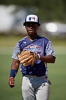 Vantrell Reed during the WWBA World Championship at the Roger Dean Complex on October 19, 2018 in Jupiter, Florida.  Vantrell Reed is a shortstop / right handed pitcher from Vicksburg, Mississippi who attends Warren Central High School.  (Mike Janes/Four Seam Images)