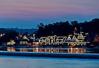 Boat House Row at night, Philadelphia, Pennsylvania, USA