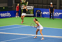 21-12-13,Netherlands, Rotterdam,  Topsportcentrum, Tennis Masters, Lady's double final Danielle Harmsen and Olga Kalyuzhnaya(R)(NED)<br /> Photo: Henk Koster