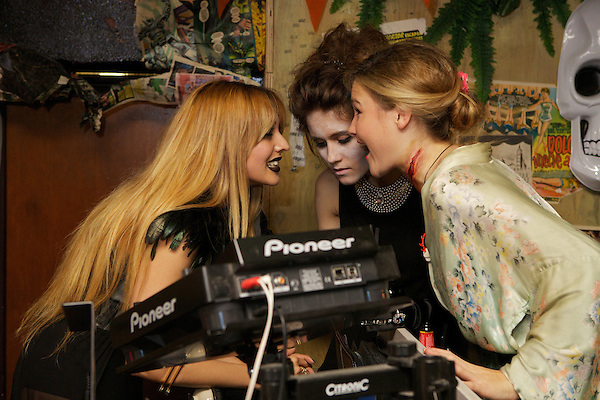 Zara Martin, Jade Williams (Sunday Girl) and Amber Atherton at The MyFlashTrash Halloween Party at Barrio, Soho, London
