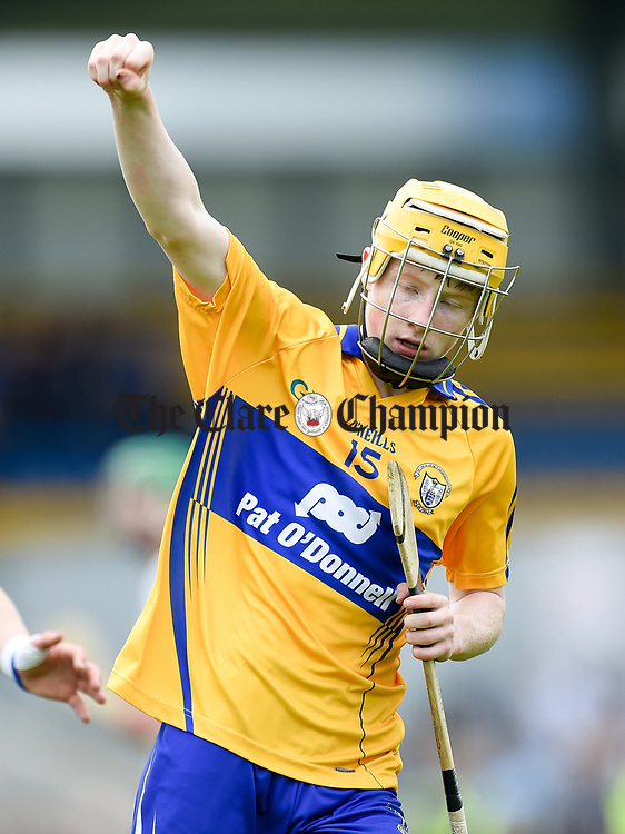 Shane Meehan of Clare celebrates a score against Waterford during their Munster  championship round robin game at Cusack Park Photograph by John Kelly.