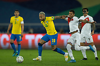 5th July 2021; Nilton Santos Stadium, Rio de Janeiro, Brazil; Copa America, Brazil versus Peru; Neymar of Brazil and Sergio Peña of Peru