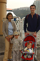 Former Danish princess Alexandra with her former husband, prince Joachim and her children are Nikolai, 3, and Felix, born in July - with thier nany, take a stroll on the quayside at Discovery Bay in Hong Kong. <br /> 09-FEB-03